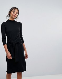 Read more about Esprit tie bow waist detail knitted dress - black