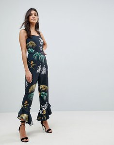 Read more about Asos square neck jumpsuit with frill hem in flamenco print - tropical print
