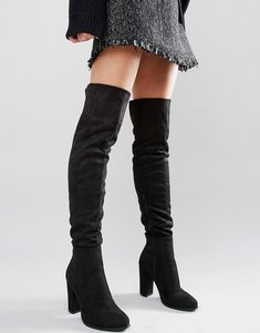 Read more about Daisy street black heeled over the knee boots - black