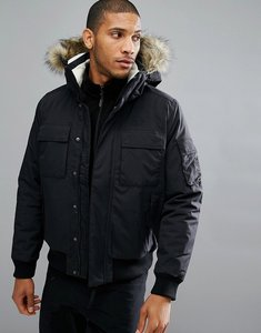 Read more about Jack wolfskin brockton jacket with faux fur hood in black - 6000 black