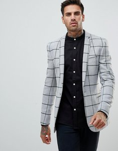 Read more about Asos super skinny blazer in grey wool mix with green windowpane check - grey