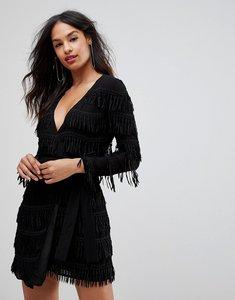 Read more about Isla charm on long sleeved tassel dress - black
