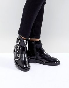 Read more about Asos design alena leather multi buckle ankle boots - black leather