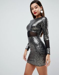 Read more about Asos all over sequin with mesh inserts mini dress - silver