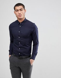 Read more about Kiomi slim fit stretch shirt in navy - navy
