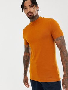 asos design muscle fit turtle neck tshirt with zip and