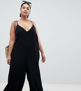 Read more about Asos design curve deep v strap back jumpsuit - black