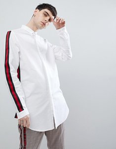 Read more about Asos design regular fit super longline oxford shirt with taping - white
