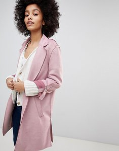 Read more about Bershka suedette soft tailored coat in pink - pink