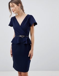 Read more about Paper dolls short sleeve dress with frill layer - navy