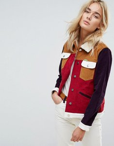 Read more about Wrangler x peter max western cord jacket with borg collar and lining - burgundy cord