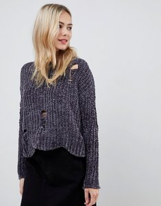 Read more about Stella morgan cropped chenille jumper with distressed hem - dark grey