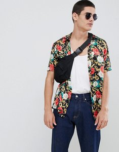 Read more about Asos design regular fit floral chain print shirt in satin - black