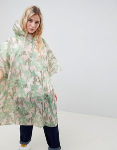 Read more about Monki cactus print festival poncho in yellow print - pink cactus