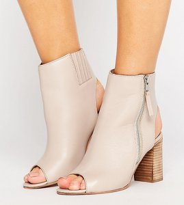 Read more about Asos earnest wide fit leather high ankle boots - nude