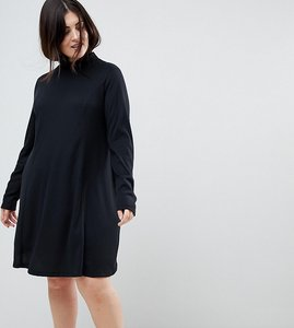 Read more about Asos curve swing dress in rib with polo neck long sleeve - black