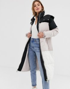 Read more about Miss selfridge overszied colourblock padded jacket - multi