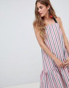 Read more about Asos design drop hem midi trapeze sundress in stripe - multi