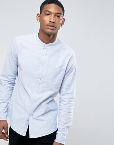 Read more about Asos casual slim oxford shirt with stretch in blue and grandad collar - blue