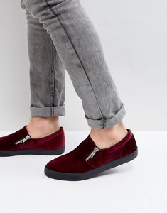 Read more about Asos slip on plimsolls in burgundy velvet with zips - red
