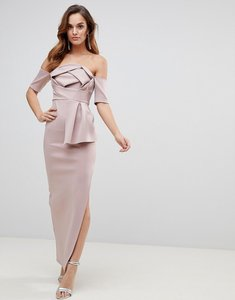 Read more about Asos scuba bardot folded bow front maxi dress - mink