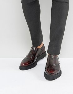 Read more about Asos zip front shoes in burgundy leather with creeper sole - burgundy