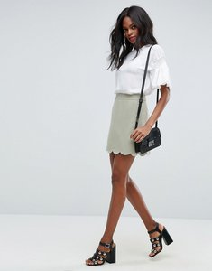 Read more about Asos tailored a-line mini skirt with scallop hem - pistachio