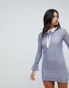 Read more about The english factory long sleeve lace dress with collar and tie - sky blue