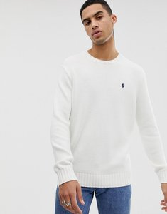 Read more about Polo ralph lauren chunky cotton knit jumper with crew neck in white