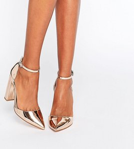 Read more about Asos penalty pointed high heels - nude metallic