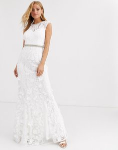 Read more about Lipsy lace with embellished maxi dress in ivory