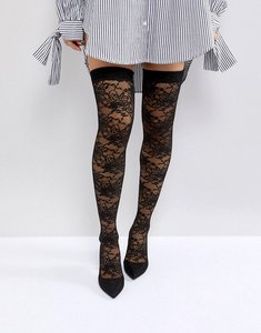 Read more about Asos kacey lace over the knee boots - black