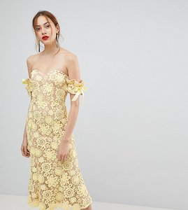 Read more about Jarlo tall all over cutwork lace bardot midi dress with tie sleeve detail - lemon