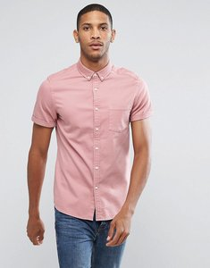 Read more about Asos stretch slim denim shirt in pink - pink