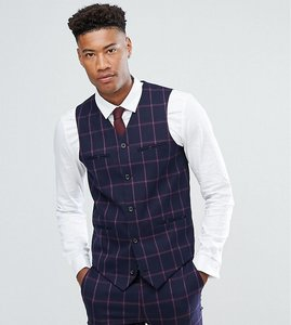 Read more about Asos tall super skinny suit waistcoat in navy and pink windowpane check - navy
