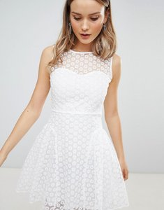 Read more about Zibi london crochet skater dress - white