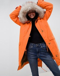 Read more about Asos design luxe parka with faux fur trim - orange