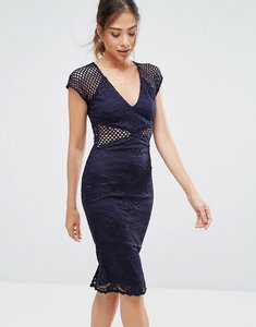 Read more about Ax paris navy v neck mesh lace bodycon midi dress - navy