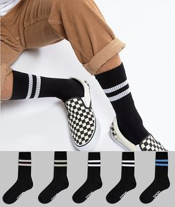 Read more about Asos sports socks in black base with pastel stripes branded sole 5 pack - black