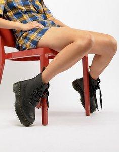 Read more about Dr martens molly black glitter flatform boots - black