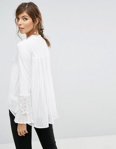 Read more about Coast rose ivory knit top with lace applique - ivory