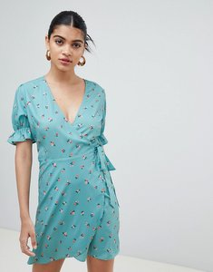 Read more about Fashion union wrap dress with frill sleeves in ditsy floral - teal floral