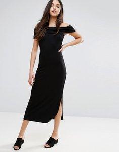 Read more about Warehouse bardot bodycon midi dress - black