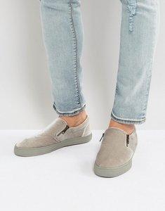 Read more about Asos slip on plimsolls in grey velvet with zips - grey