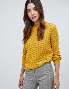 Read more about Y a s textured knitted high neck jumper - golden yellow