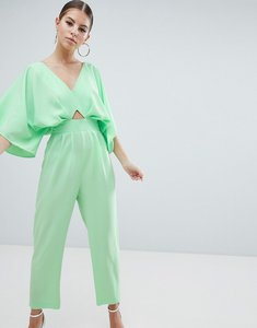 Read more about Asos design jumpsuit with kimono sleeve and peg leg - green