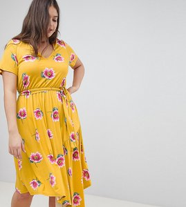 Read more about Asos design curve tea dress with tie waist and asymmetric hem in floral print - multi