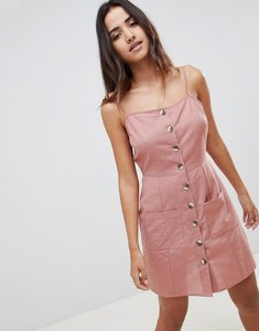 Read more about Asos design button through linen mini sundress - pale pink