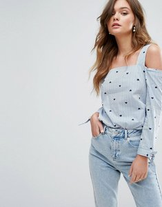 Read more about Miss selfridge heart print top - blue