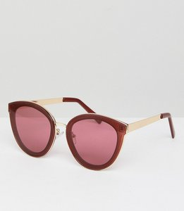 Read more about Asos round sunglasses with laid on lens and metal nose bridge - red